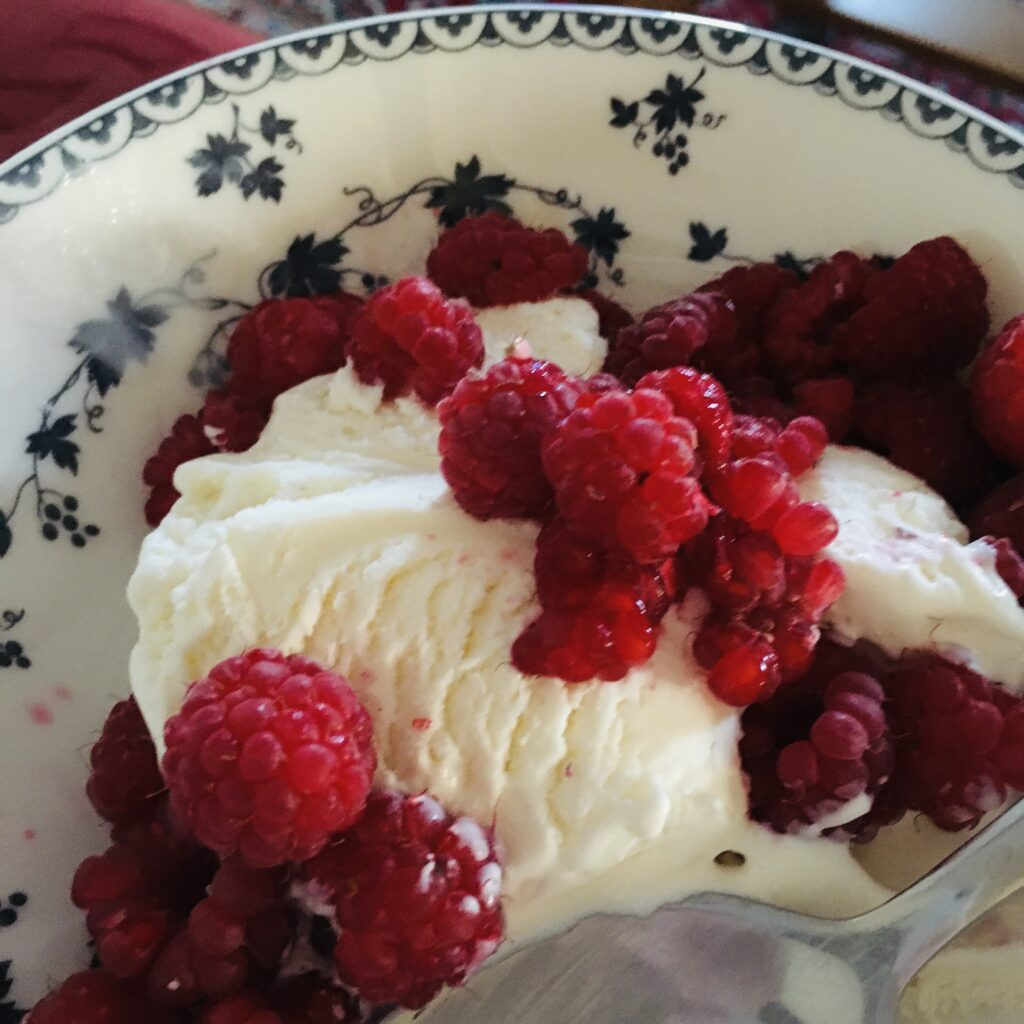 Raspberries and ice cream