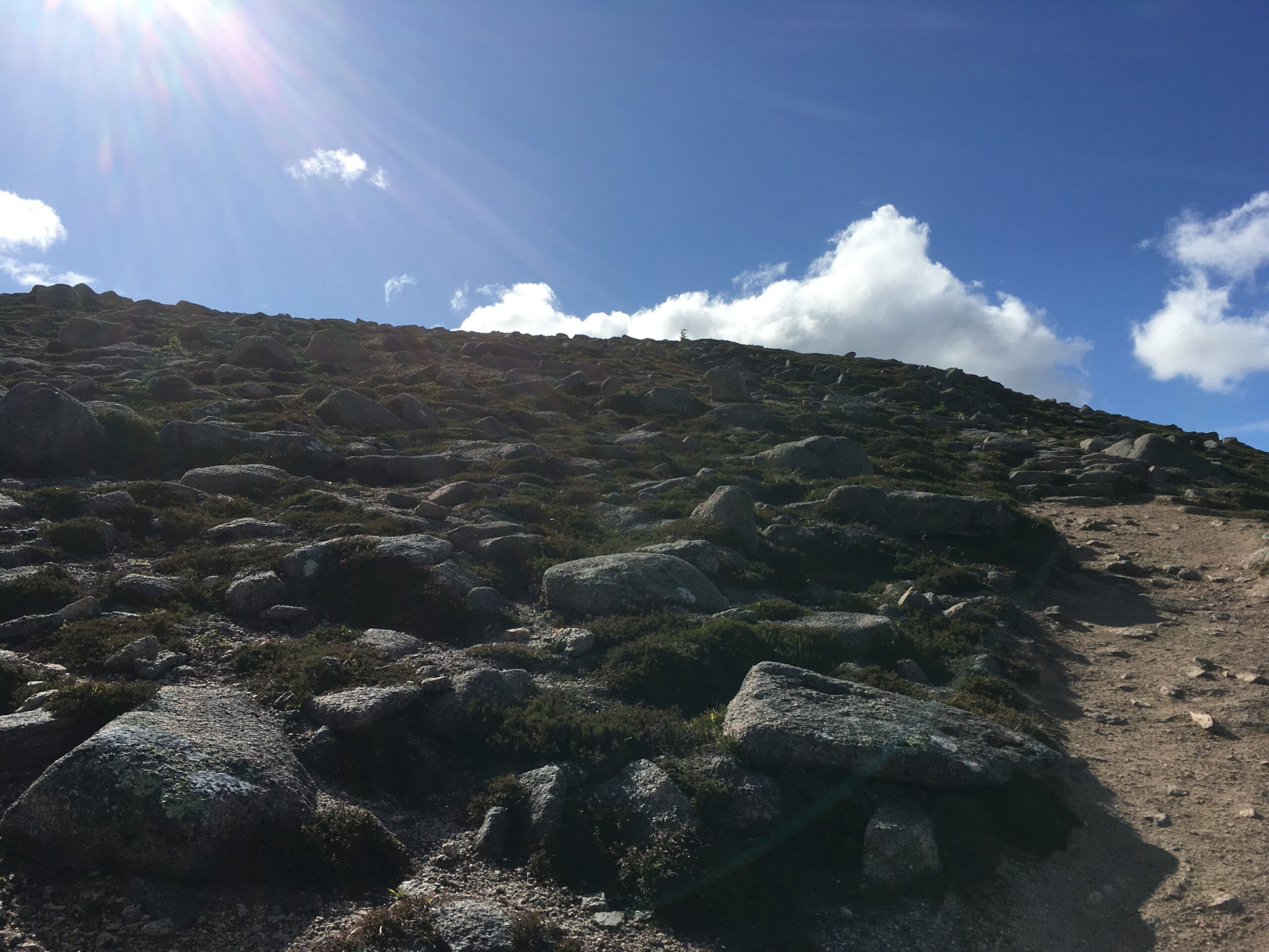 Looking up the Ben Rinnes climb