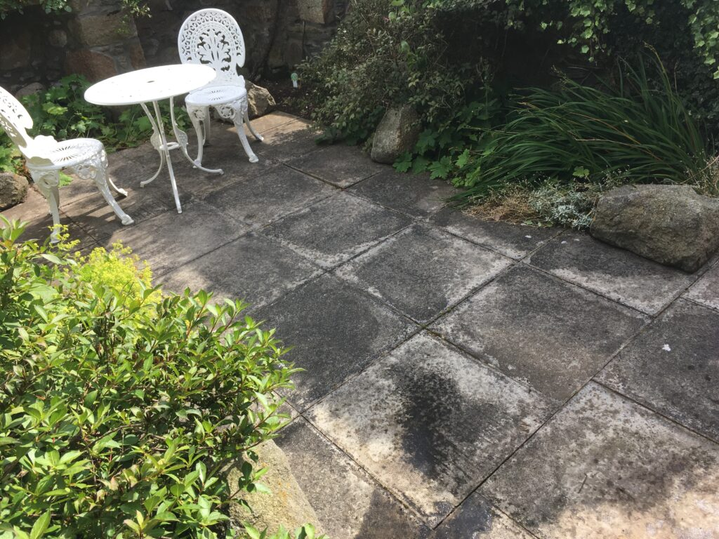 Cottage garden paving stones pre-power wash