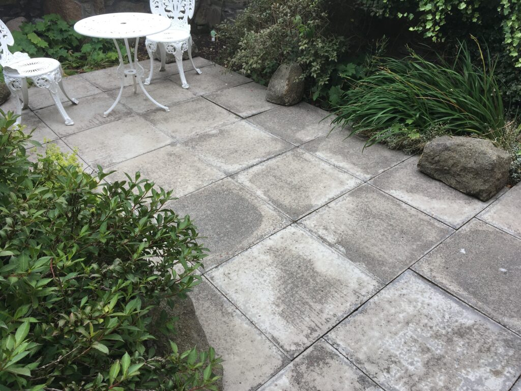 Cottage garden paving stones post-power wash